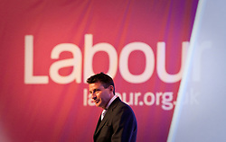 "© Licensed to London News Pictures. 02/10/2012. Manchester, UK . Sebastian Coe against a "" Labour "" backdrop on the stage during the Team Great Britain session . Labour Party Conference Day 3 at Manchester Central . Photo credit : Joel Goodman/LNP"