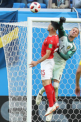 July 3, 2018 - Saint Petersburg, Russia - Goalkeeper Robin Olsen (R) of Sweden defends during the 2018 FIFA World Cup round of 16 match between Switzerland and Sweden in Saint Petersburg, Russia, July 3, 2018. (Credit Image: © Xu Zijian/Xinhua via ZUMA Wire)