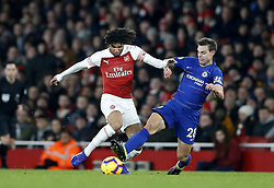 BRITAIN-LONDON-FOOTBALL-PREMIER LEAGUE-ARSENAL VS CHELSEA.(190120) -- LONDON, Jan. 20, 2019  Arsenal's Mohamed Elneny is tackled by Chelsea's Cesar Azpilicueta during the English Premier League match between Arsenal and Chelsea at the Emirates Stadium in London, Britain on Jan. 19, 2019. Arsenal won 2-0.  FOR EDITORIAL USE ONLY. NOT FOR SALE FOR MARKETING OR ADVERTISING CAMPAIGNS. NO USE WITH UNAUTHORIZED AUDIO, VIDEO, DATA, FIXTURE LISTS, CLUB/LEAGUE LOGOS OR ''LIVE'' SERVICES. ONLINE IN-MATCH USE LIMITED TO 45 IMAGES, NO VIDEO EMULATION. NO USE IN BETTING, GAMES OR SINGLE CLUB/LEAGUE/PLAYER PUBLICATIONS. (Credit Image: © Matthew Impey/Xinhua via ZUMA Wire)