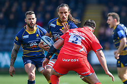 Anton Bresler of Worcester Warriors is tackled by Rob Webber of Sale Sharks- Mandatory by-line: Craig Thomas/JMP - 13/04/2019 - RUGBY - Sixways Stadium - Worcester, England - Worcester Warriors v Sale Sharks - Gallagher Premiership Rugby