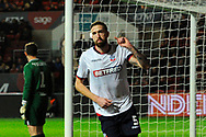 Goal - Mark Beevers (5) of Bolton Wanderers celebrates scoring a goal to give a 0-1 lead to the away team  during the The FA Cup fourth round match between Bristol City and Bolton Wanderers at Ashton Gate, Bristol, England on 25 January 2019.