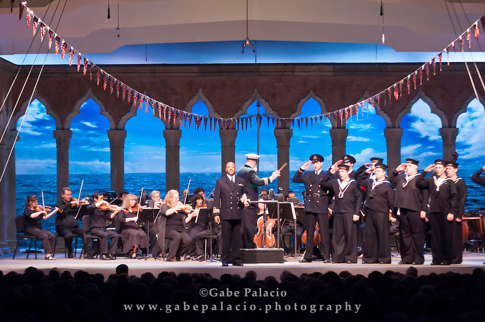 Jorell Williams, with the Caramoor Festival Chorus during the performance of HMS Pinafore, a Bel Canto at Caramoor performance in the Venetian Theater of Caramoor in Katonah New York..photo by Gabe Palacio