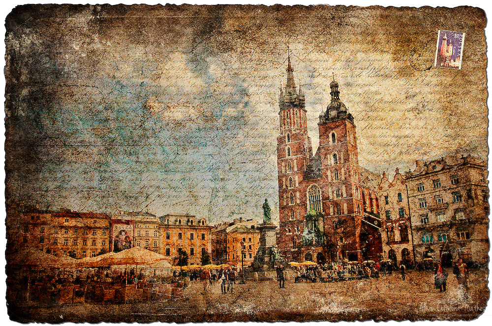 Krakow, Poland - Forgotten Postcard digital art European Travel collage