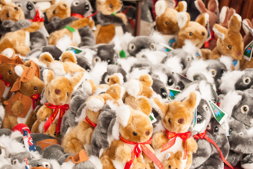 Kangaroo and koala souvenirs for sale at a stall in Queen Victoria Market, Melbourne.