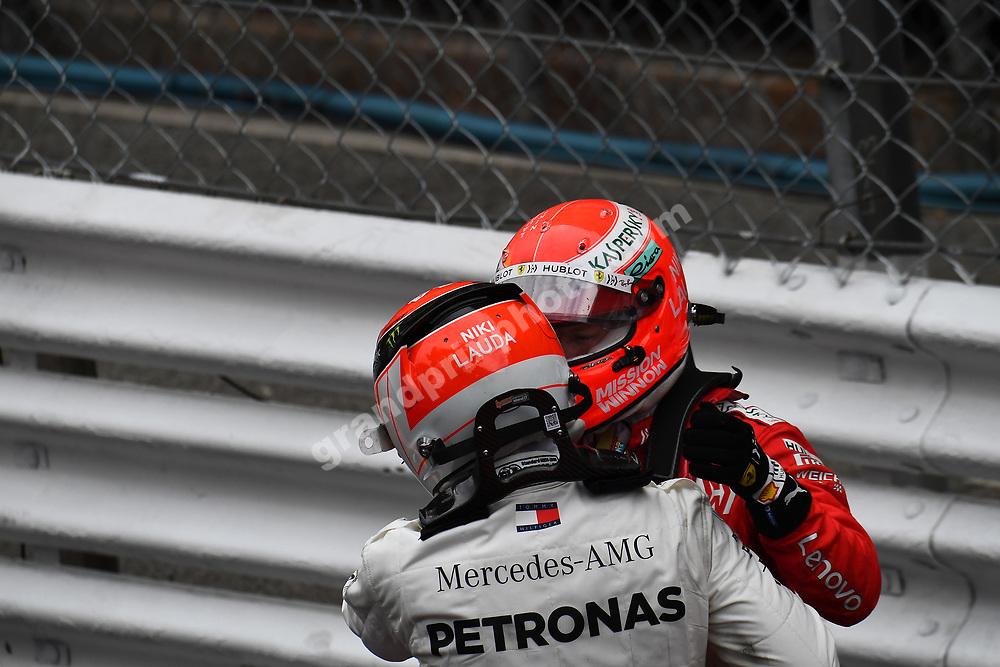 Lewis Hamilton (Mercedes) and Sebastian Vettel (Ferrari) with Niki Lauda helmets the 2019 Monaco Grand Prix. Photo: Grand Prix Photo