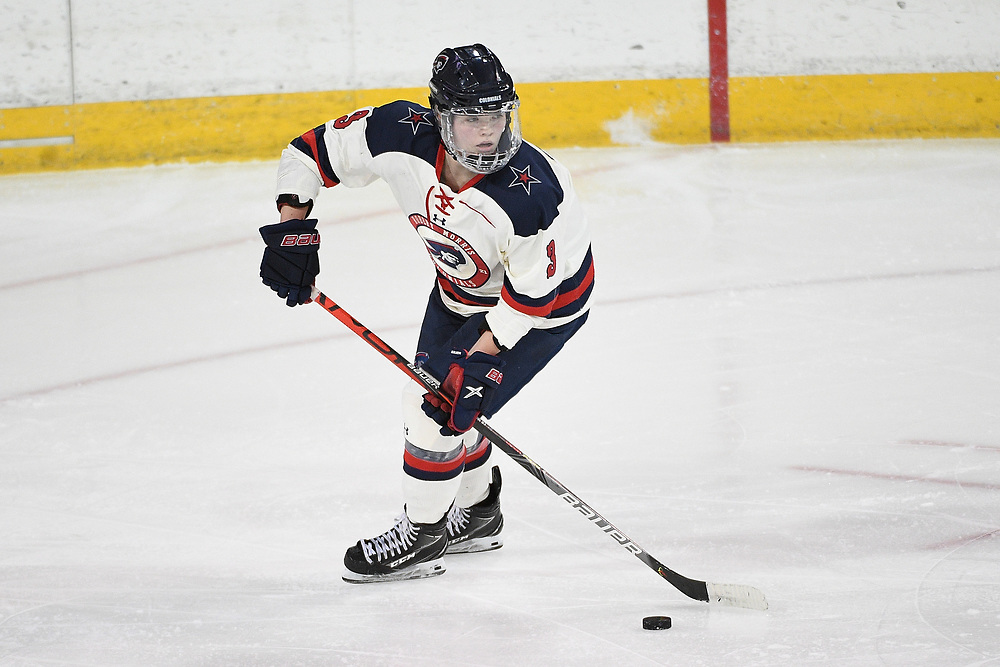 ERIE, PA - MARCH 06: Gillian Thompson #3 of the Robert Morris Colonials skates with the puck in the second period during the CHA Tournament Championship game against the Syracuse Orange at the Erie Insurance Arena on March 6, 2021 in Erie, Pennsylvania. (Photo by Justin Berl/Robert Morris Athletics)