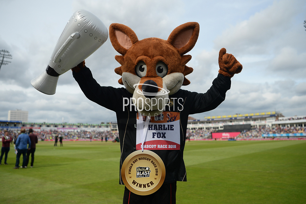 Liecestershire's Charlie the Fox wins the 2018 mascot race during the Vitality T20 Finals Day semi final 2018 match between Sussex Sharks and Somerset County Cricket Club at Edgbaston, Birmingham, United Kingdom on 15 September 2018.