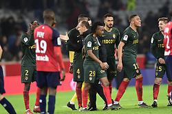 March 15, 2019 - Lille, France, FRANCE - joie des joueurs de Monaco en fin de match.JARDIM Leonardo - entraineur (Monaco) .Deception des joueurs du Losc (Credit Image: © Panoramic via ZUMA Press)