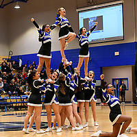 Nolensville Knights cheerleaders during the Nolensville Knights vs East Nashville Sub-State basketball playoff game at Nolensville High Monday, March 4, 2019.  The Knights ended the season with a 71-56 loss.<br /> Photo Harrison McClary/News & Observer