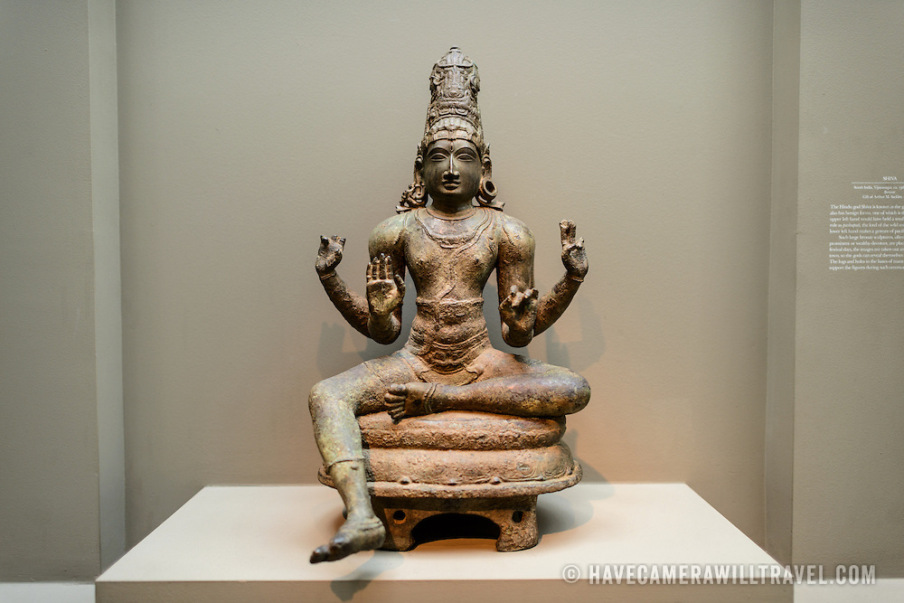 Sackler Gallery Shiva Bronze Statue. Bronze statue of Shiva from South India, circa 13th-14th century. The Arthur M. Sackler Gallery, located behind the Smithsonian Castle, showcases ancient and contemporary Asian art. The gallery was founded in 1982 after a major gift of artifacts and funding by Arthur M. Sackler. It is run by the Smithsonian Institution.