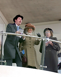 The Duchess of Cornwall (centre) watches the races during Ladies Day of the 2018 Cheltenham Festival at Cheltenham Racecourse.