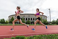 track practice Emma Spencer, Katy Kellner