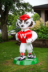 June 22, 2018 - Madison, WI, U.S. - MADISON, WI - JUNE 22: A statue of Bucky Badger stands near the first tee at the American Family Insurance Championship Champions Tour golf tournament on June 22, 2018 at University Ridge Golf Course in Madison, WI. (Photo by Lawrence Iles/Icon Sportswire) (Credit Image: © Lawrence Iles/Icon SMI via ZUMA Press)