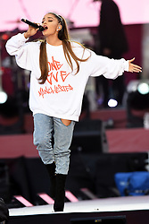 ***FREE FOR EDITORIAL USAGE***BYLINE MUST READ: DAVE HOGAN / ONE LOVE MANCHESTER***STRICTLY NO MERCHANDISING USAGE ALLOWED*** Performers including Ariana Grande, Robbie Williams, Katy Perry, Chris Martin, Miley Cyrus, Niall Horan and Mark Owen perform at the One Love Manchester benefit concert.<br /> 