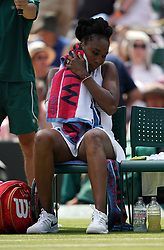 Venus Williams during her match against Alexandra Dulgheru on day three of the Wimbledon Championships at the All England Lawn Tennis and Croquet Club, Wimbledon.