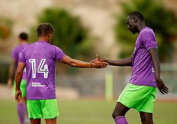 Famara Diedhiou of Bristol City celebrates with Bobby Reid of Bristol City - Mandatory by-line: Matt McNulty/JMP - 22/07/2017 - FOOTBALL - Tenerife Top Training - Costa Adeje, Tenerife - Bristol City v Atletico Union Guimar  - Pre-Season Friendly