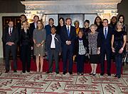Uitreiking van de Prins Claus Prijs 2014 n het Koninklijk Paleis in Amsterdam.<br /> <br /> Presentation of the Prince Claus Award in 2014 n the Royal Palace in Amsterdam.<br /> <br /> op de foto / On the photo: <br />  Koning Willem-Alexander, koningin Maxima, prinses Beatrix, prinses Mabel, prins Constantijn en prinses Laurentien poseren met de winnaars na afloop van de uitreiking //// <br /> King Willem-Alexander, Queen Maxima, Princess Beatrix, Princess Mabel, Prince Constantijn and Princess Laurentien pose with the winners after the ceremony