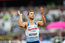 London, August 11 2017 . Ashley Bryant, Great Britain, claps to get the crowd behind him in the men's decathlon high jump on day eight of the IAAF London 2017 world Championships at the London Stadium. © Paul Davey.