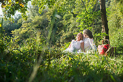 Beautiful couple relaxing in nature green, Bavaria, Germany
