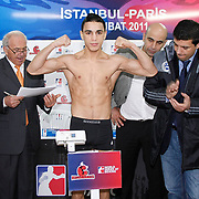 Paris United Nordine OUBAALI boxers seen during their Presentation and the weighing ceremony matchday 10 of the World Series of Boxing at Ahmet Comert Arena in Istanbul, Turkey, Thursday, February 24, 2011. Photo by TURKPIX