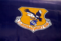 B52 unit insignia (&th Bombardment wing) on display at the United Air Force Academy in Colorado Springs Colorado Note: This image was originally produced on film and scanned to produce a digital file.  Some dust may be visible from that scan