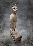 Ancient Egyptian Cat Sarcophagus conating cat mummy, Late to Plolomaic Period, (722-30 BC), Egyptian Museum, Turin.Old Fund Cat 2361.<br /> <br /> Animal mummification was common in ancient Egypt. They mummified various animals. It was an enormous part of Egyptian culture, not only in their role as food and pets, but also for religious reasons. They were typically mummified for four main purposes—to allow beloved pets to go on to the afterlife, to provide food in the afterlife, to act as offerings to a particular god, and because some were seen as physical manifestations of specific deities that the Egyptians worshipped. Bast, the cat goddess is an example of one such deity. .<br /> <br /> Visit our HISTORIC WALL ART PRINT COLLECTIONS for more photo prints https://funkystock.photoshelter.com/gallery-collection/Historic-Antiquities-Photo-Wall-Art-Prints-by-Photographer-Paul-E-Williams/C00002uapXzaCx7Y<br /> <br /> Visit our Museum ART & ANTIQUITIES COLLECTIONS to browse more photo at: https://funkystock.photoshelter.com/p/museum-antiquities
