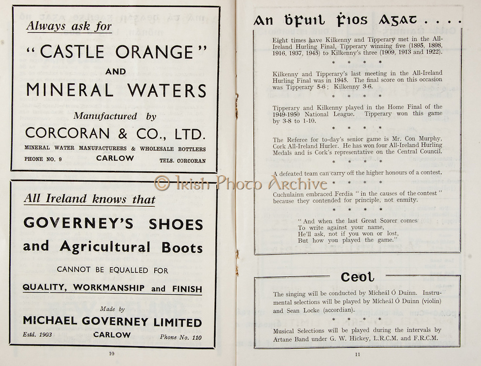 All Ireland Senior Hurling Championship Final,.Brochures,.03.09.1950, 09.03.1950, 3rd September 1950, .Tipperary 1-9, Kilkenny 1-8, .Minor Tipperary v Kilkenny,.Senior Tipperary v Kilkenny, .Croke Park, ..Advertisements, Castle Orange and Mineral Waters Corcoran & Co Ltd, Governey's Shoes and Agricultural Boots Michael Governey Limited,..Articles, An bFuil Fios Agat, Ceol,