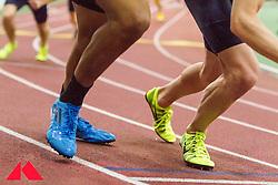 Boston University Terrier Classic indoor track & field meet, mens 800 meters start, detail of shoes