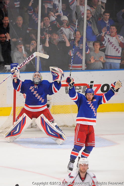 May 12, 2012: New York Rangers goalie Henrik Lundqvist (30) and center Brad Richards (19) celebrate their victory in game 7 of the NHL Eastern Conference Semi-finals between the Washington Capitals and New York Rangers at Madison Square Garden in New York, N.Y. The Rangers defeated the Capitals 2-1.