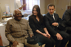 French President Nicolas Sarkozy, his wife Carla Bruni-Sarkozy meet Archbishop Desmond Tutu during their visit to the Gugulethu AIDS institute near Cape Town, South Africa, on February 28, 2008. Nicolas Sarkozy and his wife Carla Bruni-Sarkozy are on a two-day official visit in South Africa. Photo by Eric Hadj/Pool/ABACAPRESS.COM    145905_06 Cape Town Afrique du Sud South Africa