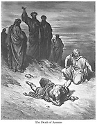 Death of Ananias [Acts 5:4-5] From the book 'Bible Gallery' Illustrated by Gustave Dore with Memoir of Dore and Descriptive Letter-press by Talbot W. Chambers D.D. Published by Cassell & Company Limited in London and simultaneously by Mame in Tours, France in 1866