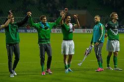 25.09.2010, Weser Stadion, Bremen, GER, 1.FBL, Werder Bremen vs Hamburger SV im Bild  Dank an die Fans  Marko Arnautovic (Werder #07 ) dreht sich dabei ab.- re Per Mertesacker ( Werder #29 ) mi Hugo Almeida ( Werder #23 )    EXPA Pictures © 2010, PhotoCredit: EXPA/ nph/  Kokenge+++++ ATTENTION - OUT OF GER +++++ / SPORTIDA PHOTO AGENCY