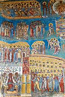 Roumanie, région de la Bucovine, fresque au monastère orthodoxe de Voronet, patrimoine mondial de l'UNESCO. // Romania, Bucovine, Fresco Detail  at the Church of St. George at Voronet Monastery.