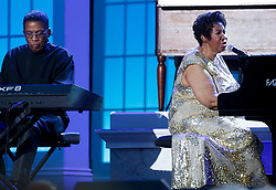 Aretha Franklin and Herbie Hancock perform at the International Jazz Day Concert on the South Lawn of the White House, in Washington, DC, USA, April 29, 2016. US President Barack Obama delivered remarks to introduce the event. Photo by Aude Guerrucci/Pool/ABACAPRESS.COM