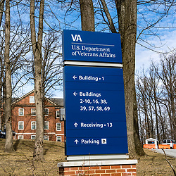 Coatesville, PA / USA - February 24, 2020: A directional  sign at the US Department of Veterans Affairs Medical Center in Coatesville Pennsylvania.