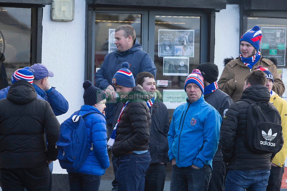 Rangers fans wait for the gates to open before the William Hill Scottish Cup, fifth round match at Somerset Park, Ayr.