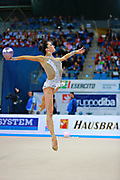Neta Rivkin during Finnal at ball in Pesaro World Cup at Adriatic Arena on 12 April 2015. Neta was born on June 23, 1991 in Petah Tiqwa Israel. <br /> She is one of Israel's most successful rhythmic gymnasts.
