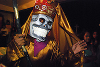 """MEXICO, Veracruz, Tantoyuca, Nov 1- Nov 4, 2009. Making the souls of the dead feel welcome as they return for a yearly visit, Mexicans in this tropical state offer not only elaborate feasts and flower-filled altars, but dancing as well. Masked bands of performers called """"cuadrillos"""" rehearse for months their choreography, rich with symbolic roles for men, women, devils, and death itself, then over the course of two nights regale both graveyards and city streets with whoops of laughter, raise-the-roof dancing and music until dawn. Photographs commissioned by HOY Newspaper. More at MexicoCulturalCalendar.com"""