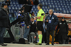 December 26, 2018 - Rome, Italy - The referee Piero Giacomelli looks the VAR during the Serie A match between AS Roma and US Sassuolo at Stadio Olimpico on December 26, 2018 in Rome, Italy. (Credit Image: © Federica Roselli/NurPhoto via ZUMA Press)