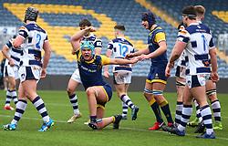 Oli Thorneywork (Warwick School) of Worcester Warriors Under 18s celebrates scoring a try - Mandatory by-line: Robbie Stephenson/JMP - 14/01/2018 - RUGBY - Sixways Stadium - Worcester, England - Worcester Warriors Under 18s v Yorkshire Carnegie Under 18s - Premiership Rugby U18 Academy