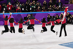 February 12, 2018 - Gangneung, South Korea - Patrick Chan, Gabrielle Daleman, Kaetlyn Osmond, Eric Radford, Megan Duhamel, Scout Moir, Tessa Virtue of Canada celebrates their Gold medal in the Figure Skating Team Event at the PyeongChang 2018 Winter Olympic Games at Gangneung Ice Arena on Monday February 12, 2018. (Credit Image: © Paul Kitagaki Jr. via ZUMA Wire)