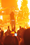 """Kid Rock was on fire for his performance  at the Jackson Coliseum in Jackson Mississippi as the second to last night of his """"Born Free"""" tour Friday March 11,2011. Kid played the guitar, keyboards and drums during his almost 2 hour show filled with strippers, pyro technics, old photo slide show and laser lights . Kid Rock  was joined on stage by country guitarist Jamey Johnson and Randy Houser. Kid Rock, who grew up in in Detroit,  turned 40 years old and is celebrating his birthday All Tour Long and the last show of the tour is Saturday night March 12,2011 in Memphis TN.   Photo©Suzi Altman"""