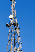Microwave antenna on television broadcast lattice tower used for tv transmission at Mt Coot-tha, Brisbane, Queensland, Australia <br />