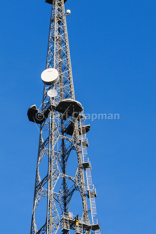 Microwave antenna on television broadcast lattice tower used for tv transmission at Mt Coot-tha, Brisbane, Queensland, Australia <br /> <br /> Editions:- Open Edition Print / Stock Image