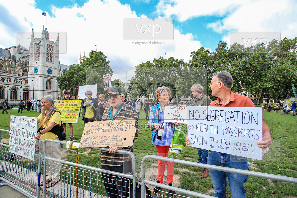 A few anti-vaxxers are seen to gather outside Westminster Palace, Houses of Parliament in central London on Wednesday, Aug 18, 2021. They said they're gathering to protest the continuation of the Covid19 vaccine across the country. (VX Photo/ Vudi Xhymshiti)