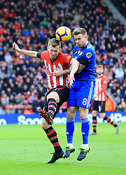Southampton's James Ward-Prowse (left) and Cardiff City's Joe Ralls battle for the ball during the Premier League match at St Mary's Stadium, Southampton.