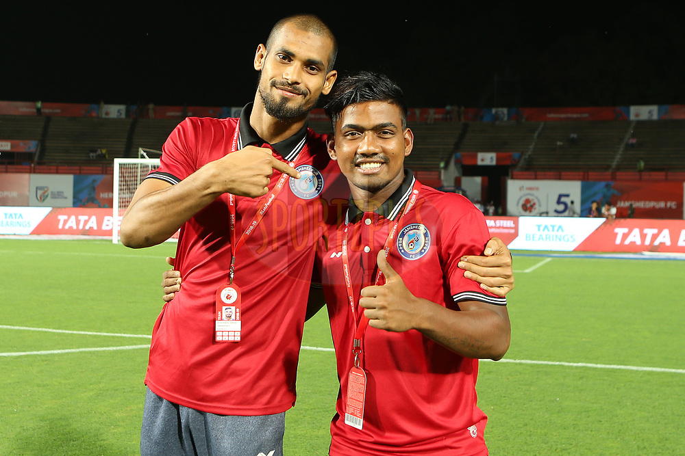 Players inspect the pitch during match 25 of the Hero Indian Super League 2018 ( ISL ) between Jamshedpur FC and FC Goa held at JRD Tata Sports Complex, Jamshedpur, India on the 1st November  2018<br /> <br /> Photo by: Ron Gaunt /SPORTZPICS for ISL