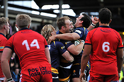 Chris Pennell of Worcester Warriors celebrates his try - Photo mandatory by-line: Patrick Khachfe/JMP - Mobile: 07966 386802 27/05/2015 - SPORT - RUGBY UNION - Worcester - Sixways Stadium - Worcester Warriors v Bristol Rugby - Greene King IPA Championship Play-off Final (Second leg)