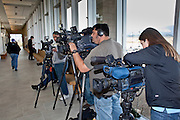 """04 FEBRUARY 2010 - CAMP VERDE, AZ:  Media from the Phoenix area and national networks wait in the hallway of the Yavapai County Court for James Arthur Ray's initial appearance to start. Ray had his initial appearance in Yavapai County Court in Camp Verde Thursday morning. His bail was set at $5 Million Dollars (US). Ray did not post bail and remains in jail. Ray was arrested in Prescott, AZ, on Feb 3 and charged with three counts of manslaughter after three people died during a sweat lodge ceremony he was holding in Sedona, AZ, in October 2009. The ceremony was a part of a """"Spiritual Warrior"""" workshop Ray was leading. He charged participants $8,000 each. PHOTO BY JACK KURTZ   NO SALES"""