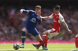 21 May 2017 London : Premier League - Arsenal v Everton :<br /> Ross Barkley of Everton tries to take the ball past Granit Xhaka of Arsenal.<br /> Photo: Mark Leech
